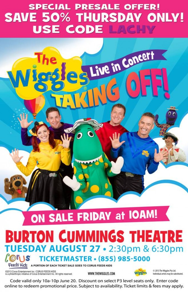 The Wiggles in #Winnipeg – 50% off presale Thurs 6/20 only!
