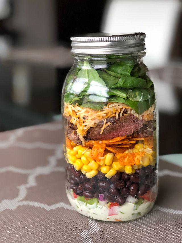 Grilled Steak Tex Mex Mason Jar Salad
